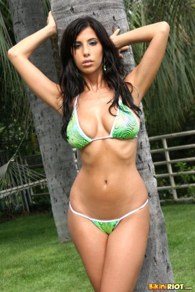 Jaime Hammer Busty Brunette in Green Bikini