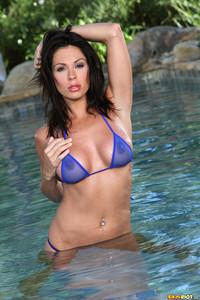 Kirsten Price All Wet in a Sheer Blue Bikini